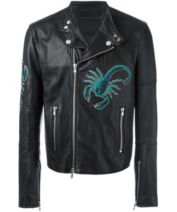 Diesel Black Gold | Diesel Scorpion Patches Biker Jacket 46 Calf Leather/Rayon/Polyester
