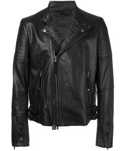 Diesel Black Gold | Diesel Stud Detail Zip Up Jacket 48 Leather/Viscose/Polyester