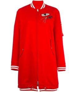 Ermanno Scervino | Embellished Long Bomber Jacket 40 Polyester/Polyurethane/Spandex/Elastane/Glass