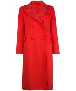 Ermanno Scervino | Decorative Collar Double Breasted Coat 38 Polyamide/Polyester/Angora/Virgin