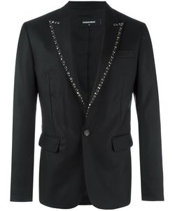 Dsquared2 | London Tux Studded Lapel Jacket 52 Virgin Wool/Silk/Polyester/Glass
