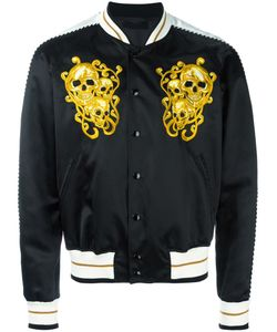 Alexander McQueen | Skull Embroidered Bomber Jacket 50 Cotton/Silk/Viscose/Viscose