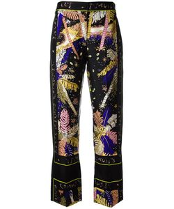 Emilio Pucci | Feather Motif Cropped Trousers 44 Silk