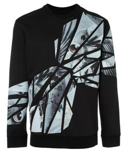 SYSTEM HOMME | Abstract Print Sweatshirt Small Polyester/Polyurethane/Rayon