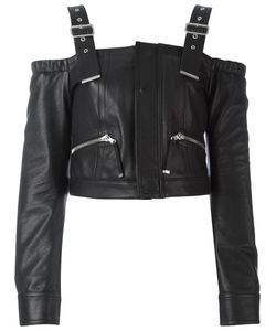 Diesel Black Gold | Leather Lawau Blouse 40 Leather/Rayon/Polyester