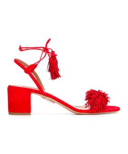 Aquazzura | Tassel Tied Ankle Sandals 38 Suede/Leather