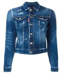 Dsquared2 | Cropped Distressed Jean Jacket 38 Spandex/Elastane/Cotton