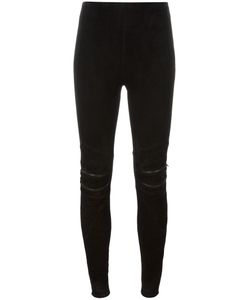 Saint Laurent | Suede Motorcycle Leggings 38 Lamb Skin/Cotton/Spandex/Elastane