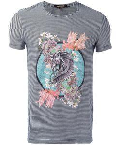 Roberto Cavalli | Pegasus Print Striped T-Shirt Medium Cotton