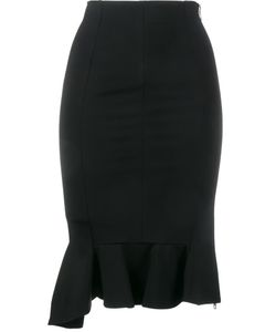 Givenchy | Ruffle Hem Pencil Skirt 38 Viscose/Polyamide/Spandex/Elastane/Silk