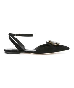 Dolce & Gabbana | Embellished Brooch Sandals 39 Suede/Leather/Glass