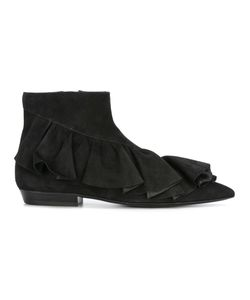 J.W. Anderson | J.W.Anderson Ruffled Detail Ankle Boots 40 Calf Leather/Leather