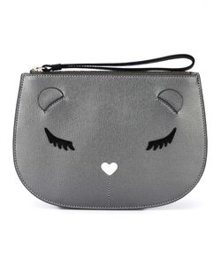 Furla | Embroidered Cat Face Clutch Bag Leather/Viscose/Nylon