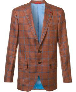 Isaia   Classic Checked Blazer 52 Wool/Silk/Linen/Flax