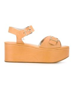 Robert Clergerie   Buckle Up Platform Sandals 38 Calf Leather/Leather