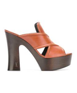 Saint Laurent   Platform Slip-On Mules 35 Calf Leather/Leather/Wood/Rubber