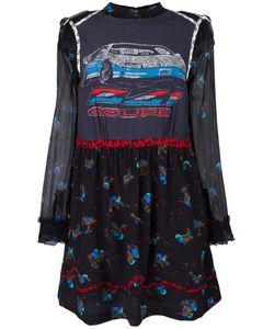 COACH | Car Print Layered Dress 0 Silk/Viscose/Leather