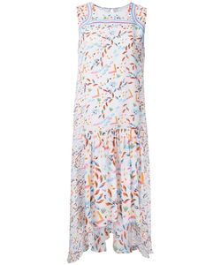 Peter Pilotto | Pleated Trim Printed Dress 10 Silk