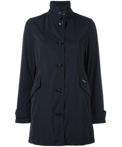 Woolrich | Banded Collar Buttoned Coat Large Polyester/Cotton/Polyamide