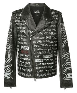 HACULLA | Text Print Biker Jacket Xl Leather
