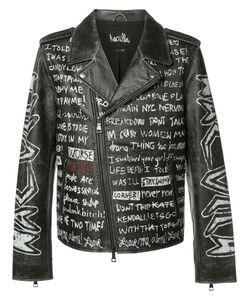 HACULLA | Text Print Biker Jacket Xl Leather
