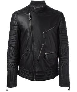 Philipp Plein | Ribbed Panel Biker Jacket Large Viscose/Polyester/Lamb Skin Philipp