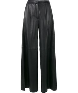 Adam Lippes | Flared Leather Trousers 6 Lamb Skin/Silk