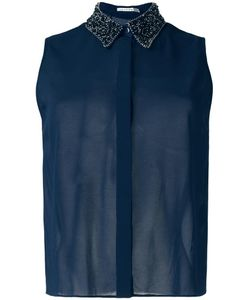 Alice + Olivia | Embellished Collar Shirt Medium Silk/Elastodiene/Cotton