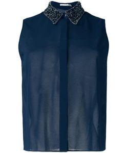 Alice + Olivia | Embellished Collar Shirt Medium Silk/Elastodiene/Cotton