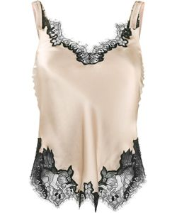 Helmut Lang | Lace-Trimmed Slip Top Large Viscose/Silk/Nylon/Polyester