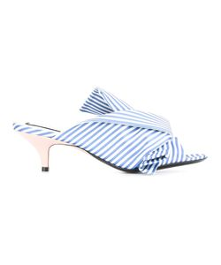 No21 | Striped Crossed Mules 38 Satin/Leather