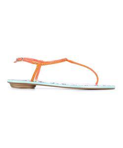 Rene' Caovilla | René Caovilla T-Strap Flat Sandals 37 Leather/Crystal
