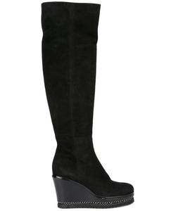Loriblu | Knee-Length Platform Boots 36 Suede/Leather/Rubber