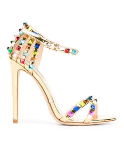 GIANNI RENZI | Open Toe Stiletto Sandals 38 Patent Leather/Leather/Brass
