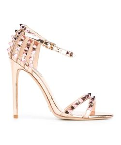 GIANNI RENZI | Open Toe Stiletto Sandals 37.5 Patent Leather/Leather/Brass Gianni