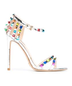 GIANNI RENZI | Open Toe Stiletto Sandals 40 Patent Leather/Leather/Brass