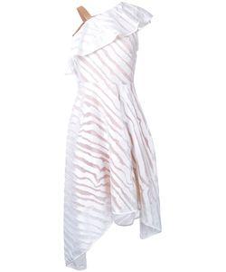 GINGER & SMART | Lunar One Shoulder Dress 12 Silk/Polyester Ginger
