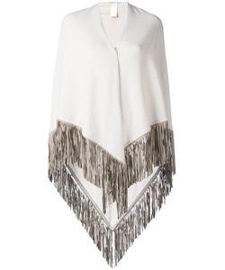 Agnona | Fringed Knitted Poncho Cashmere/Lamb Skin