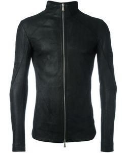 10Sei0Otto | High Neck Leather Jacket Medium Cotton/Leather/Spandex/Elastane