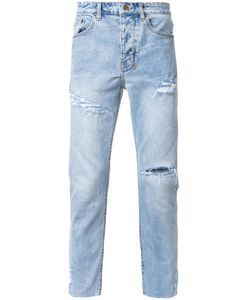 Ksubi | Distressed Tapered Jeans 33 Cotton