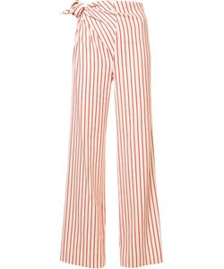 Rosie Assoulin | Side Knot Striped Trousers 6 Linen/Flax/Cotton