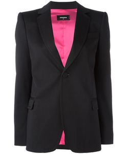 Dsquared2 | Curved Lapel Button Blazer 42 Virgin Wool/Spandex/Elastane/Polyester/Viscose