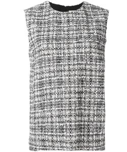 Lanvin | Sleeveless Tweed Check Blouse 38 Cotton/Polyester/Viscose/Acrylic