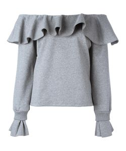 Opening Ceremony | Off-The-Shoulder Ruffled Sweatshirt Small Cotton/Spandex/Elastane