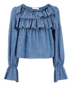 See By Chloe | See By Chloé Tiered Ruffle Blouse 38 Cotton/Linen/Flax/Viscose