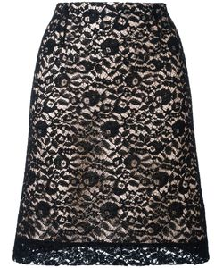 Lanvin | Lace Overlay A-Line Skirt 40 Viscose/Polyamide/Acetate