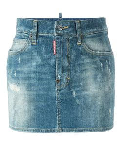 Dsquared2 | Microstudded Denim Skirt 38 Cotton/Spandex/Elastane/Polyester/Aluminium