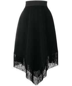 Dolce & Gabbana | Fringe Hem Crepe Skirt 46