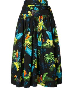 Marc Jacobs | Parrots Print Pleated Skirt 4 Cotton/Spandex/Elastane