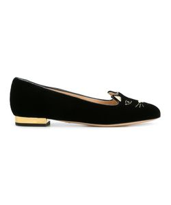 Charlotte Olympia | Kitty Slippers 35.5 Leather/Velvet